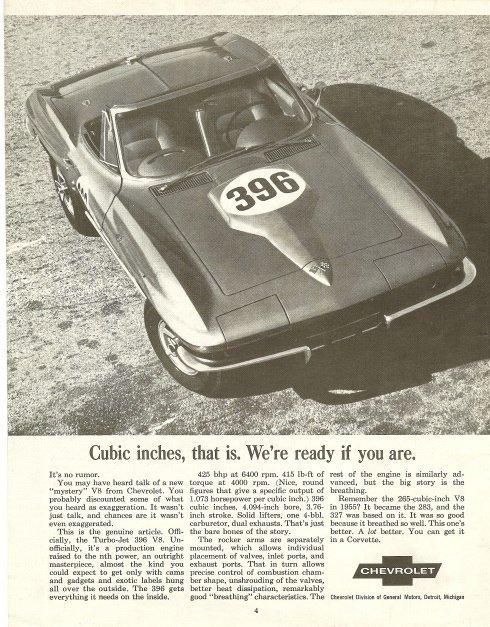 1965 Corvette Magazine Ad about the new Turbo-Jet 396 V8 Engine.