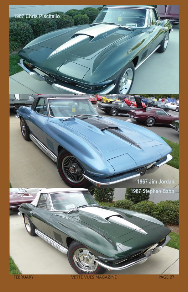 1967 Corvettes owned by Chris Piscitello, Jim Jordan and Stephen Bahn at the Bloomington Gold Corvettes Charlotte event in 2016.