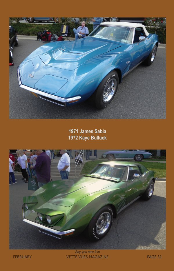 1971 & 1972 Corvettes at the Bloomington Gold Corvettes Charlotte event in 2016 owned James Sabia and Kaye Bulluck.