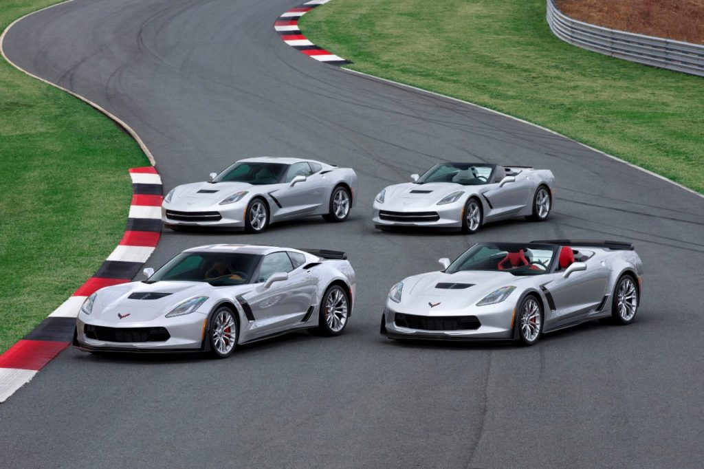 For 2015 model year, Chevrolet offers four Corvette models, including the Corvette Stingray coupe and convertible, delivering up to 460 hp and 29 mpg, and the Corvette Z06 coupe and convertible, which deliver at least 625 hp and 635 lb-ft of torque.