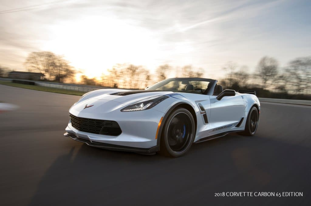 Available on the Grand Sport 3LT trim, the 2018 Corvette Carbon 65 Edition celebrates 65 years of Corvette with a new Ceramic Matrix Gray paint color and visible carbon fiber exterior elements, including a carbon fiber hood and rear spoiler.