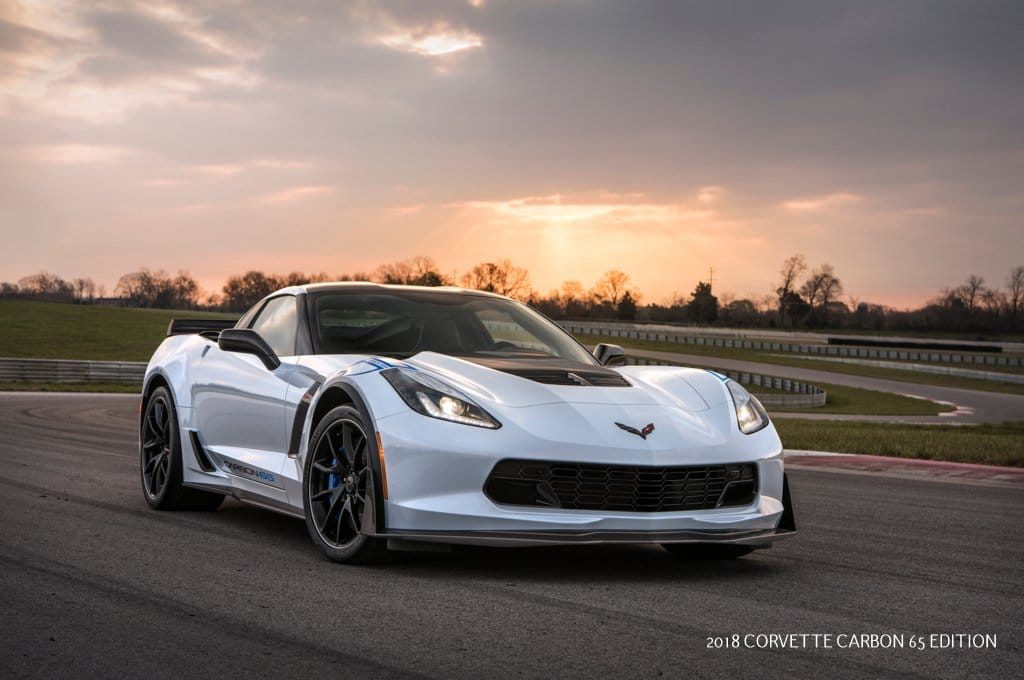 Available on the Z06 3LZ trim, the 2018 Corvette Carbon 65 Edition celebrates 65 years of Corvette with a new Ceramic Matrix Gray paint color and visible carbon fiber exterior elements, including a carbon fiber hood and rear spoiler.