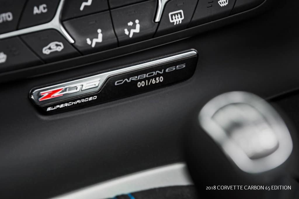 All 2018 Corvette Carbon 65 Edition cars feature a numbered interior plaque.