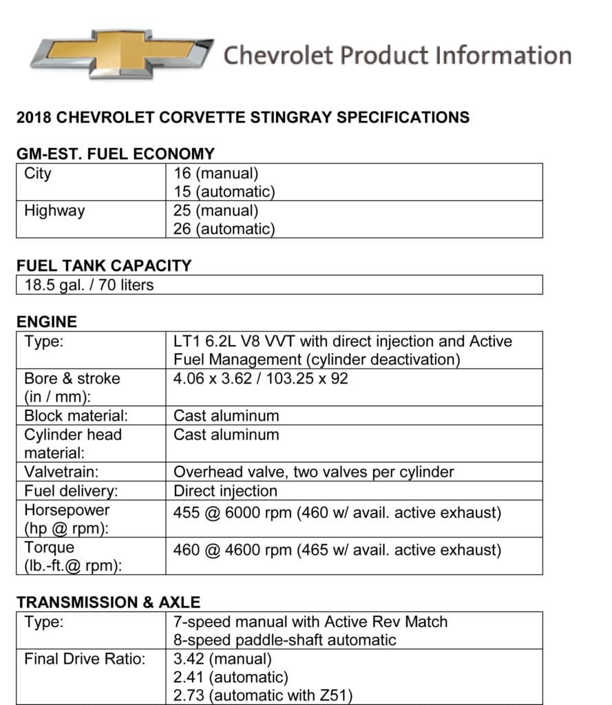2018 Chevrolet Corvette Stingray Product Guide and Specifications. Fuel Economy, Fuel Tank Capacity, Engine, Transmission & Axle.