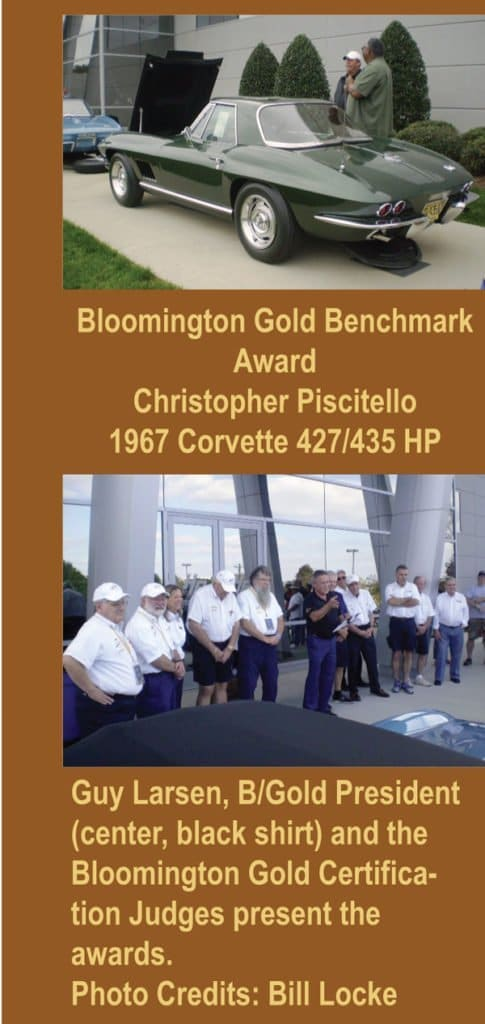Top photo of Bloomington Gold Benchmark Award 1967 Corvette owned by Christopher Piscitello. Bottom Photo Guy Larsen, Bloomington Gold President, and the Bloomington Gold Certification Judges at the 1st Bloomington Gold Corvettes Charlotte 2016.