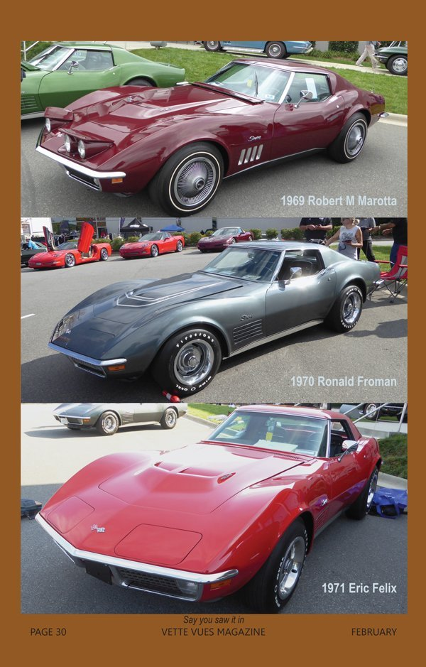1969, 1970 and 1971 Corvettes at the Bloomington Gold Charlotte event in 2016 owned by Robert Marotta, Ronald Froman and Eric Felix.