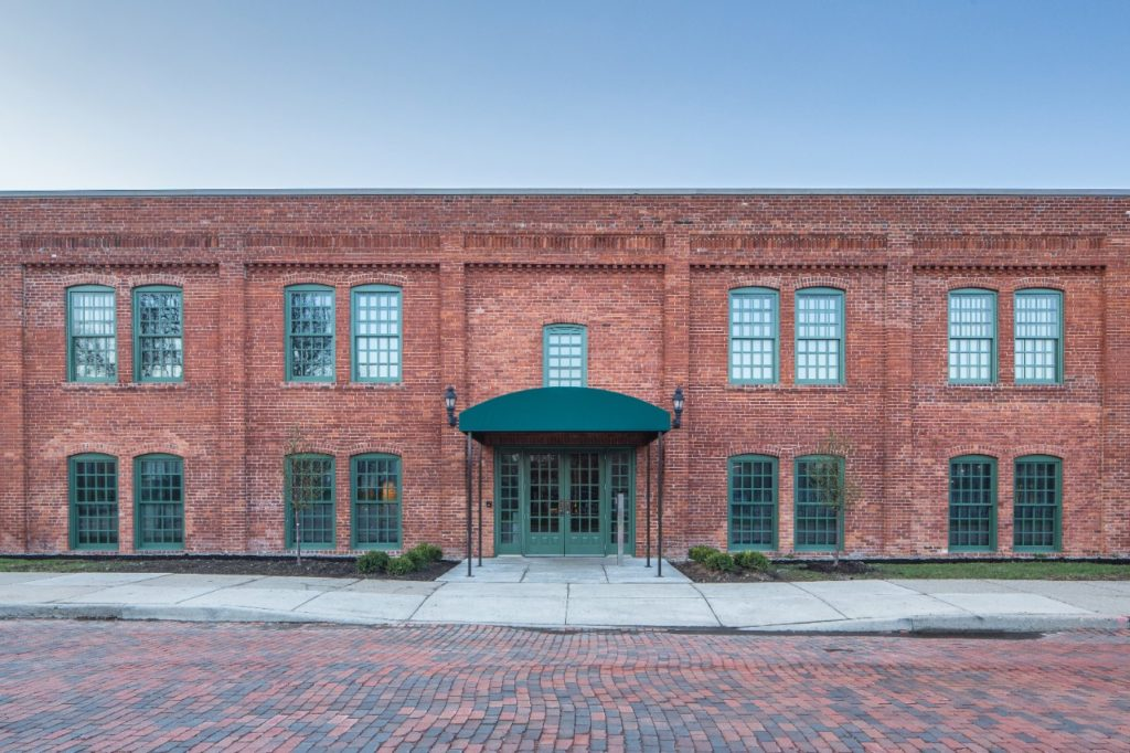 Main entrance of the restored Durant-Dort Factory One, in Flint, Michigan, which includes more than 17,000 color-matched replacement bricks. Photo: Jason Robinson.