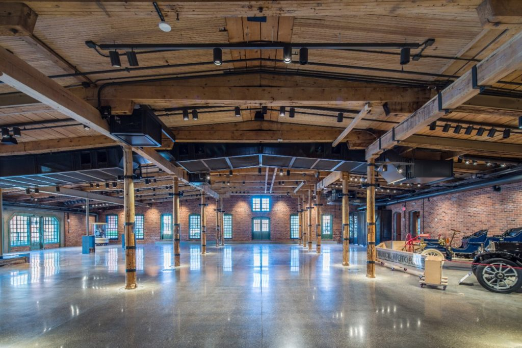"Main floor of the restored Durant-Dort Factory One, in Flint, Michigan, a carriage factory founded by General Motors founder William Crapo ""Billy"" Durant and partner Josiah Dallas Dort. GM transformed the East Wing of the facility into a conference and event space that can accommodate groups of up to 300. Photo: Jason Robinson."
