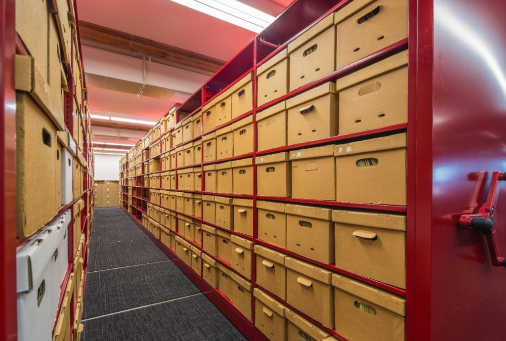 Approximately 100,000 documents and artifacts compose the Kettering University Archives and are housed in a climate-controlled enclosure within the restored Durant-Dort Factory One, in Flint, Michigan. Photo: Jason Robinson.