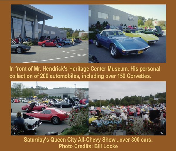 1st Bloomington Gold Corvettes Charlotte 2016 in front of Mr. Hendrick's Heritage Center Museum. His personal collection of 200 automobiles, including over 150 Corvette. Saturday's Queen City All-Chevy Show with over 300 cars.