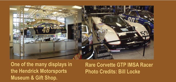Rare Corvette GTP IMSA Racer inside the Hendrick Motorsports Museum and Gift Shop at the 1st Bloomington Gold Corvettes event in Charlotte, North Carolina.