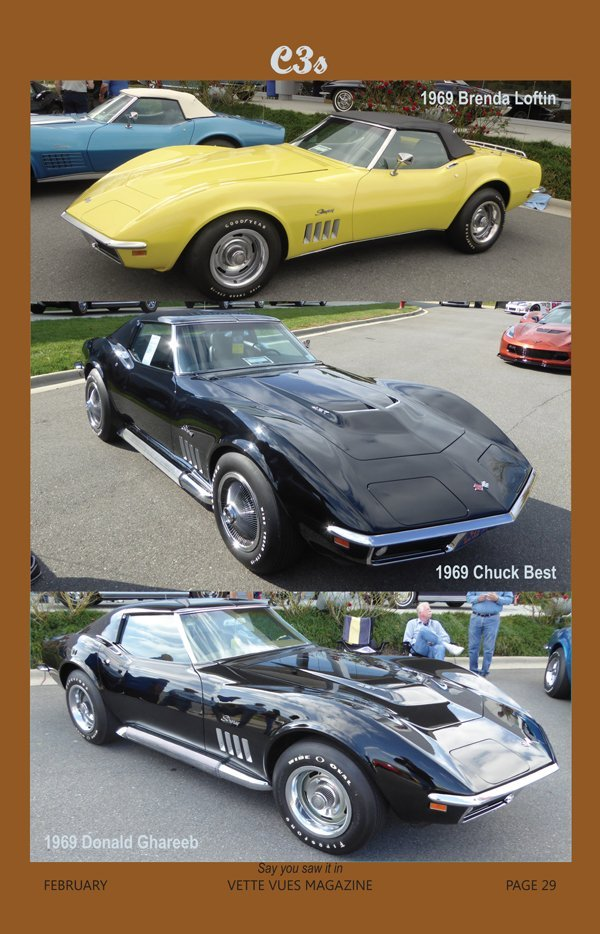 Three 1969 Corvettes at the Bloomington Gold Charlotte event in 2016 owned by Brenda Loftin, Chuck Best and Donald Ghareeb.