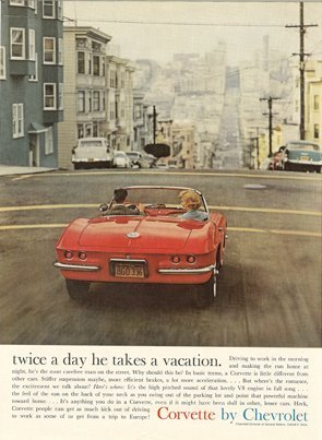 1962 Corvette Magazine Ad-Twice a day he takes a vacation.