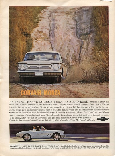 1962 Corvette and Corvair Monza Magazine Ad