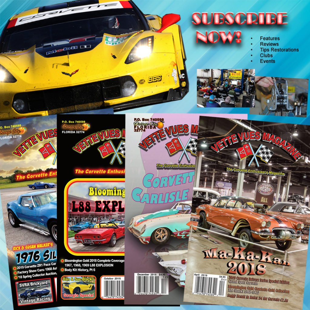 Vette Vues Magazine, the Corvette Enthusiast's Magazine, has been covering the Corvette hobby longer than any other Corvette magazine. It is now in its 47th year of continuous publishing (since 1972). Each issue is jammed packed with racing information, technical information, historical information, auction results, events, model cars, classifieds, calendar of events, and more. Also, as a bonus, you get a free classified ad every month!