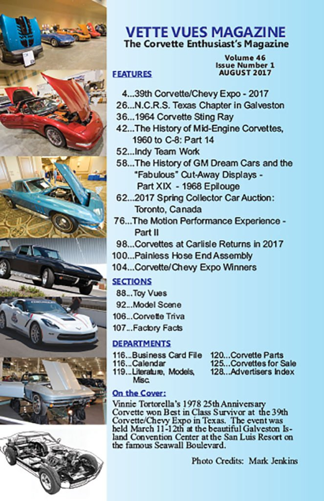 Articles in August 2017 Vette Vues Magazine