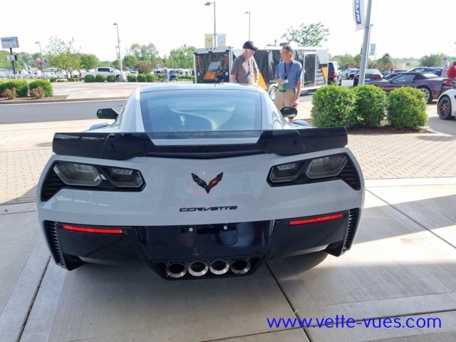 2018 Corvette Carbon 65 Edition Rear View. The carbon-fiber rear spoiler is one of many carbon-fiber elements on the 2018 Corvette Carbon 65 Edition.