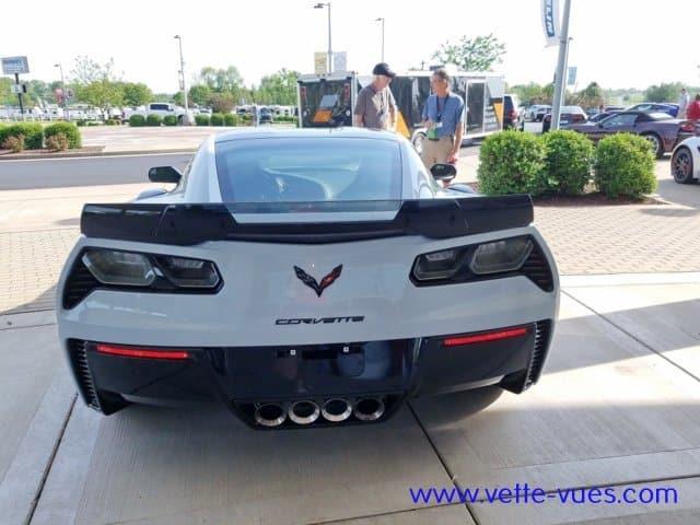 2018 Corvette Carbon 65 Edition Rear View. The carbon-fiber rear spoiler is one of many carbon-fiber elements on the 2018 Corvette Carbon 65 Edition.
