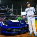 The 2017 Ted Williams All-Star Game Most Valuable Player, Robinson Cano of the Seattle Mariners, with his new Chevrolet Corvette Grand Sport, presented during the MVP award ceremony Tuesday, July 11, 2015 at Marlins Park in Miami, Florida. Chevrolet is the Official Vehicle of Major League Baseball. (Photo by Kelly Gavin/MLB Photos via Getty Images)