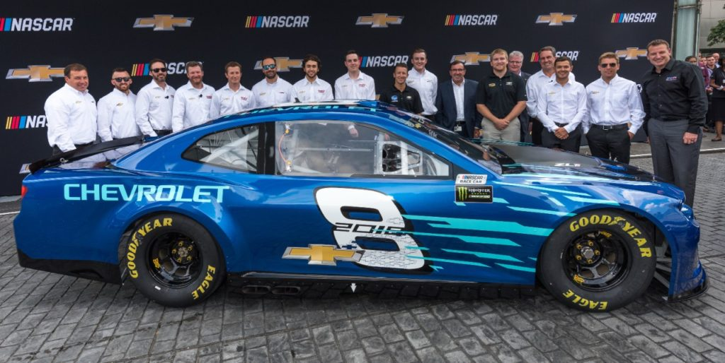 The Team Chevy NASCAR Cup drivers with the Chevrolet 2018 Camaro ZL1 NASCAR Cup race car at it's world debut Thursday, August 10, 2017 in front of the General Motors Renaissance Center Global Headquarters in Detroit, Michigan. The Camaro ZL1 will make its competition debut next February during Daytona Speedweeks, which kicks off the 2018 NASCAR season. (Photo by Steve Fecht for Chevrolet)