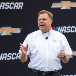 General Motors Vice President Performance Vehicles and Motorsports Jim Campbell addresses the gathering at the world debut of the Chevrolet 2018 Camaro ZL1 NASCAR Cup Race Car Thursday, August 10, 2017 in front of the General Motors Renaissance Center Global Headquarters in Detroit, Michigan. The Camaro ZL1 will make its competition debut next February during Daytona Speedweeks, which kicks off the 2018 NASCAR season. (Photo by Steve Fecht for Chevrolet)