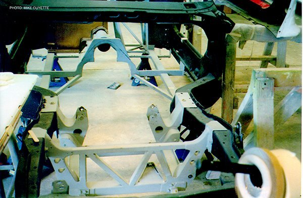 The front engine and suspension cradle provided increased torsional stiffness and bending moment.