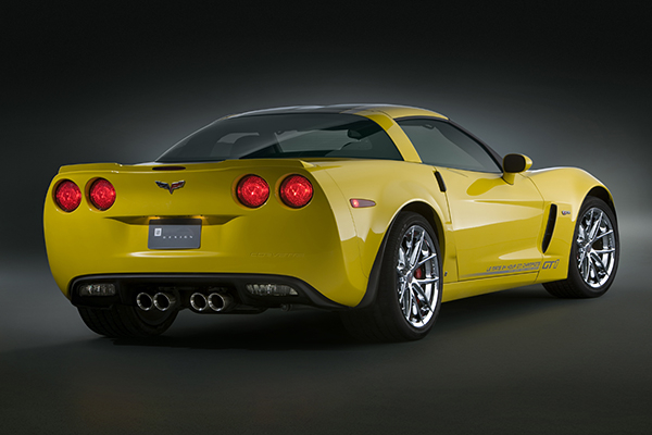 The Corvette GT1 Championship Edition celebrates the success of Corvette C6.R Racing over the years. Some details of the package include C6.R-inspired graphics featuring Corvette Racing 'Jake,' Championships, and driver flags; ZR1-style body color, full width spoiler and chrome wheels; and a special engine cover with carbon pattern and yellow Corvette lettering. This package is available in the Coupe 4LT ($65,310), Convertible 4LT ($71,815) or Z06 3LZ ($86,385).