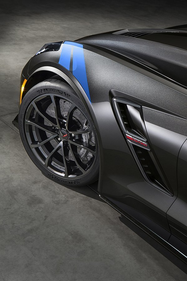The new 2017 Chevrolet Corvette Grand Sport combines a lightweight architecture, a track-honed aerodynamics package, Michelin tires and a naturally aspirated engine to deliver exceptional performance. Inside, the Grand Sport Collector Edition features a unique Tension Blue full leather and suede-wrapped interior, a three-dimensional representation of an original Grand Sport race car is embossed in the headrests and that shape is also used on an instrument panel plaque that carries a unique build sequence number.