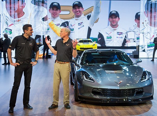 Oliver Gavin, driver of the #4 Chevrolet Corvette Racing C7.R (left) and Corvette Chief Engineer Tadge Juechter, introduce the 2017 Corvette Grand Sport Tuesday, March 1, 2016 at the Geneva International Motor Show in Geneva, Switzerland. Like the Corvette C7.R race car, the Grand Sport combines a lightweight architecture, a track-honed aerodynamics package and a naturally aspirated engine. (Photo by Thorsten Weigl for Chevrolet)