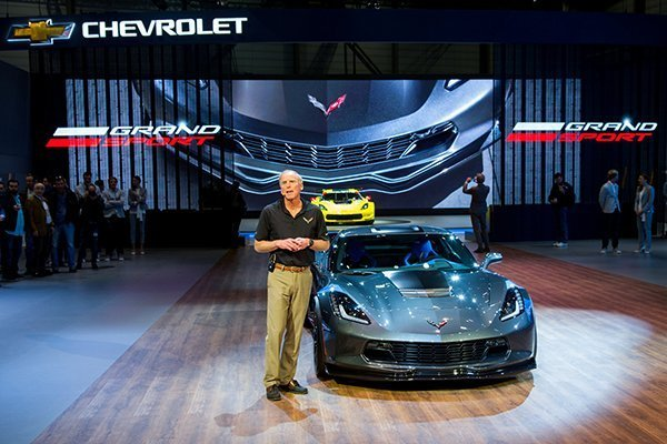 Corvette Chief Engineer Tadge Juechter introduces the 2017 Corvette Grand Sport Tuesday, March 1, 2016 at the Geneva International Motor Show in Geneva, Switzerland. Like the Corvette C7.R race car, the new Grand Sport combines a lightweight architecture, a track-honed aerodynamics package and a naturally aspirated engine. The Corvette Grand Sport coupe and convertible go on sale this summer in the U.S. and in the fall in Europe. (Photo by Thorsten Weigl for Chevrolet)