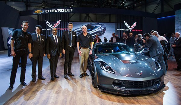 Oliver Gavin, Harlan Charles, Ed Welburn, Ryan Vaughan and Tadge Juechter, with the 2017 Corvette Grand Sport Tuesday, March 1, 2016 during its introduction at the Geneva International Motor Show in Geneva, Switzerland. The Corvette Grand Sport coupe and convertible go on sale this summer in the U.S. and in the fall in Europe. (Photo by Thorsten Weigl for Chevrolet)