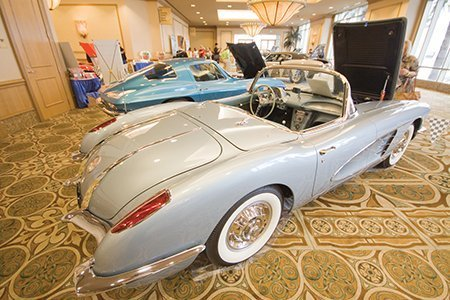 Jim Fullerton's 1958 Corvette on display from the NCRS Texas Chapter at the Corvette Chevy Expo in Galveston, Texas.