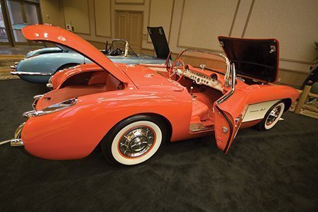 John Kittleson's 1957 Fuel Injection Corvette on display from the NCRS Texas Chapter at the Corvette Chevy Expo in Galveston, Texas.