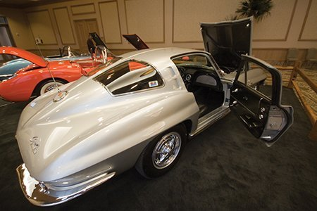 John Kittleson's 1963 Fuel Injection Corvette on display from the NCRS Texas Chapter at the Corvette Chevy Expo in Galveston, Texas.