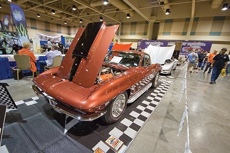 Lou Sanchez's 1967 L36 427/390 hp Big Block Corvette on display from the NCRS Texas Chapter at the Corvette Chevy Expo in Galveston, Texas.
