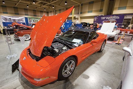 "Najib ""Mo"" Mohamed's 2003 Corvette on display from the NCRS Texas Chapter at the Corvette Chevy Expo in Galveston, Texas."