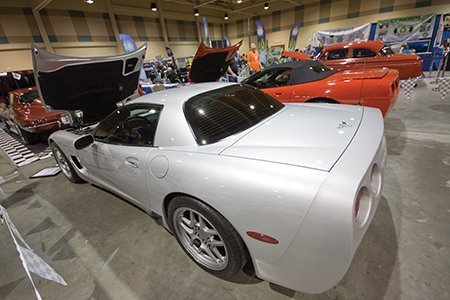 Paul Diamanti's 2003 ZO6 Corvette on display from the NCRS Texas Chapter at the Corvette Chevy Expo in Galveston, Texas.