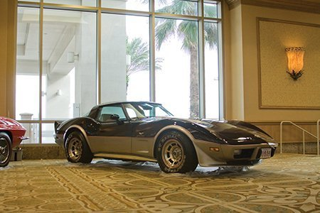 Vinnie Tortorella's 1978 Anniversary Corvette on display from the NCRS Texas Chapter at the Corvette Chevy Expo in Galveston, Texas. This is a one owner Vette with only 387 actual documented miles. It has the L-82 350 ci 220 hp, 4-speed manual transmission.