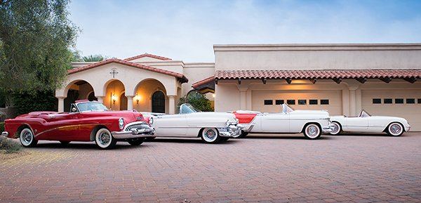 Fine examples from the very first GM Motorama in 1953: a Buick Skylark (Lot #1353), Cadillac Eldorado (Lot #1353.1), Oldsmobile Fiesta (Lot #1353.2) and Chevrolet Corvette (Lot #1353.3) – all selling at No Reserve at the 2018 Scottsdale Auction.