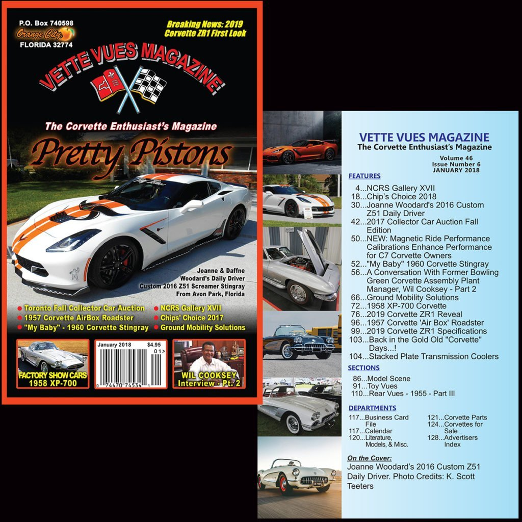 Check out the Corvette articles that appeared in our January 2018 issue of Vette Vues Magazine. The cover and index you see here is from Vette Vues Magazine, Volume 46, Issue Number 6 and is our 556th issue. Vette Vues Magazine has enjoyed continuous publication . . . never having missed a month since we started in 1972.