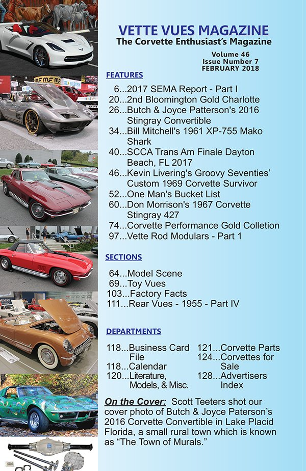 Articles in February 2018 Issue Vette Vues Magazine