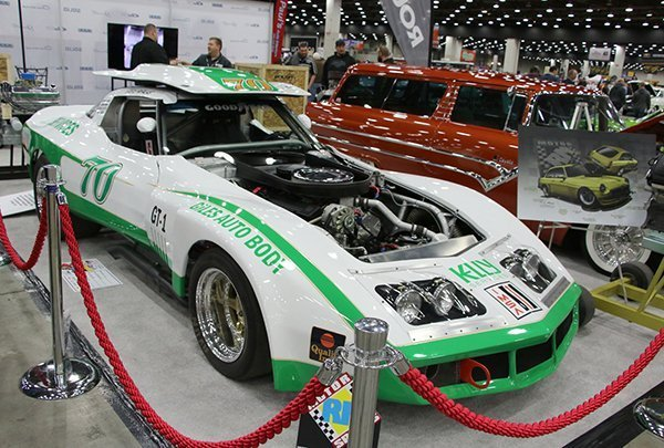 Steve Papalas, Wixom (MI), had his 1968 Corvette race car on display in the Roush Performance display