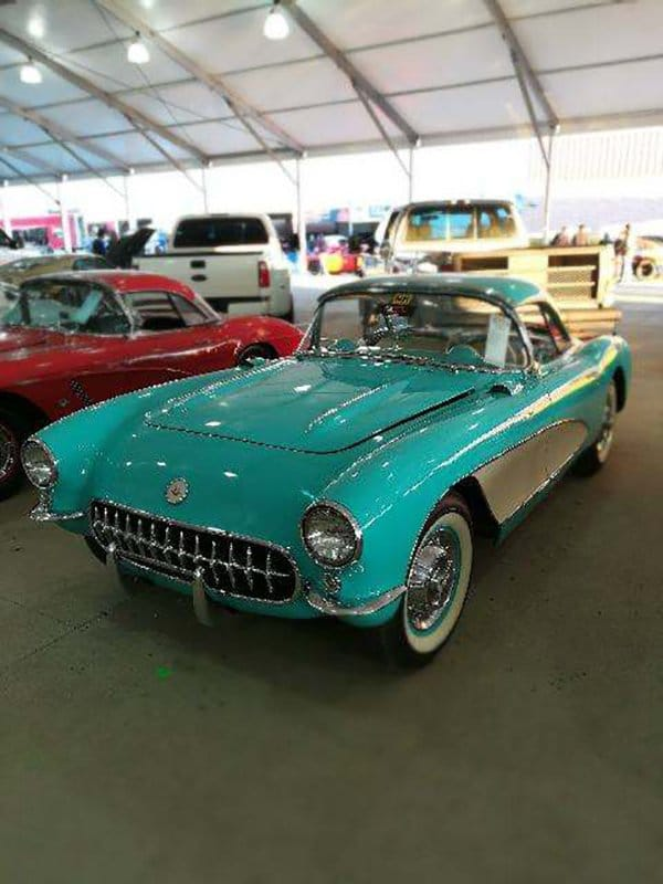 1957 CHEVROLET CORVETTE CONVERTIBLE Cascade Green with Beige coves and interior, 283 CI V-8 engine, Dual Carter 4-barrel carburetors, Finned valve covers