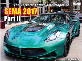 On the Cover of the March 2018 Issue of Vette Vues Magazine we feature The Green Hornet Corvette that was made for a customer car from Washington state. The basic C7 was sent to Ivan Tampi to work his magic. The car carries the base engine, with additional power provided via a front-mounted supercharger and a full two bottle nitrous system. Photo Credits: Wayne Ellwood @ SEMA 2017.