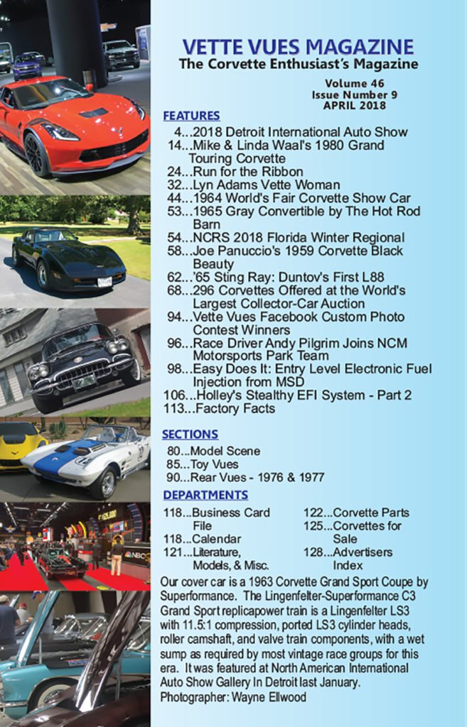 Articles in the April 2018 issue of Vette Vues Magazine