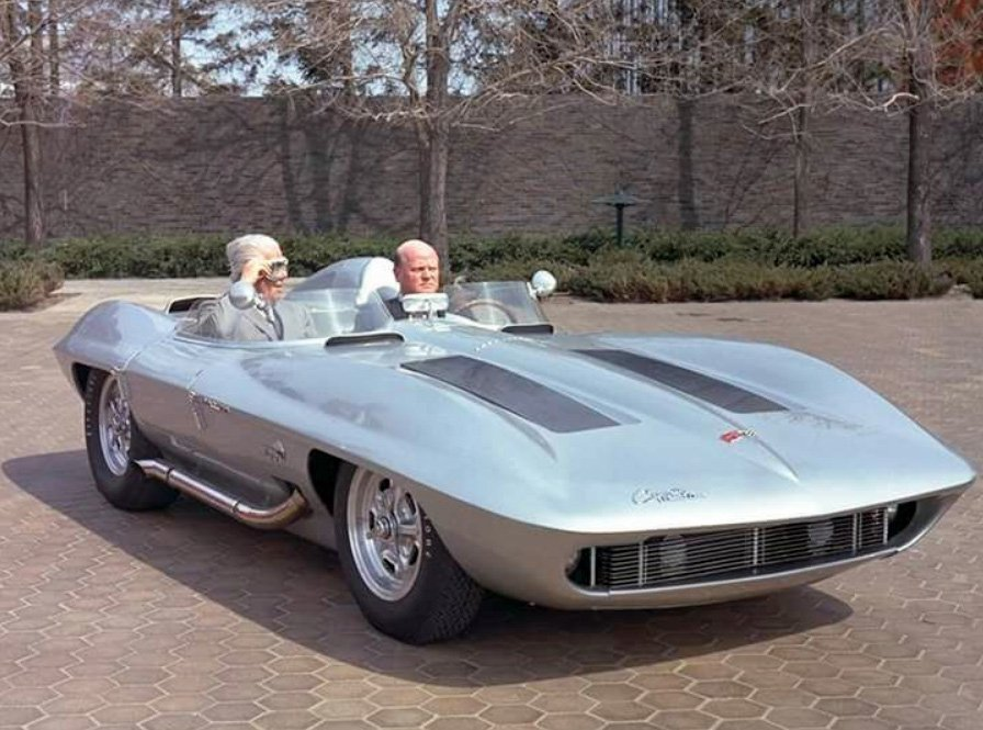 Corvette Stingray Racer - GM Press Photo with Harley Earl