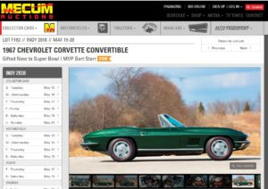Bart Starr's Most Valuable Player Award 1967 Corvette Goes to the 2018 Mecum Auction in Indy (Source: Mecum Auction)