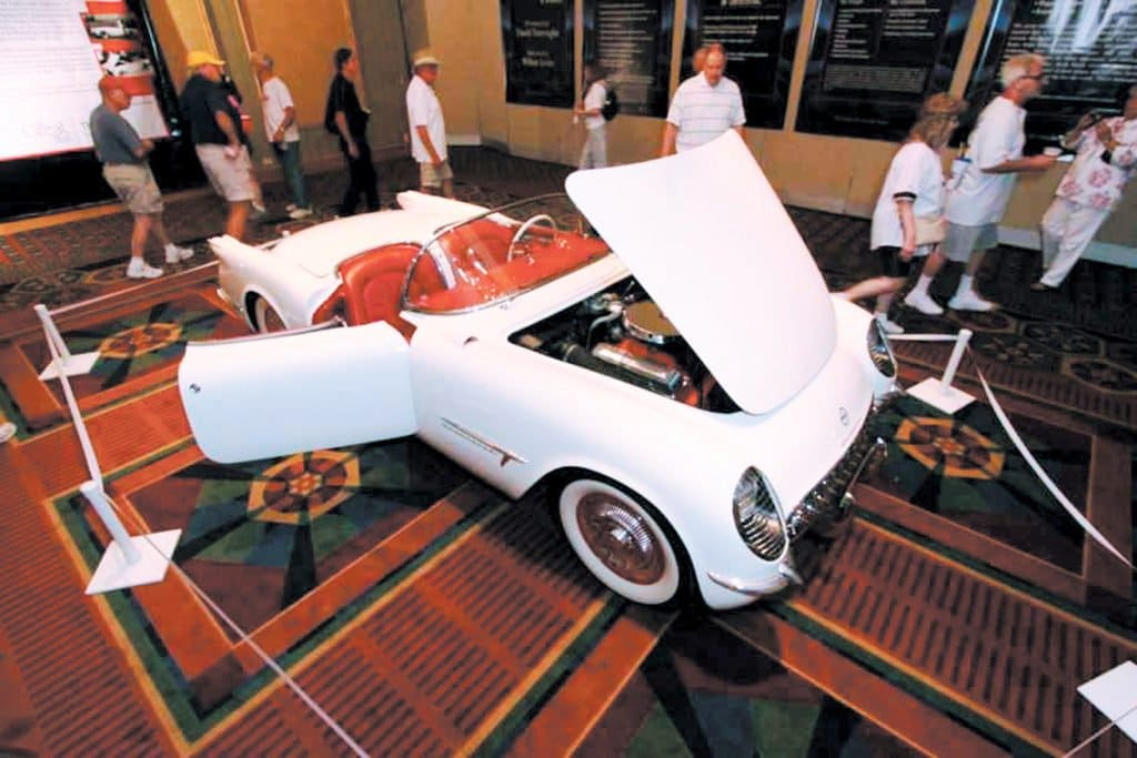 1953 EX-122 Corvette is on display at the 2010 Bloomington Gold held at Pheasant Run Resort in St. Charles, Illinois. It was inducted into the Great Hall.