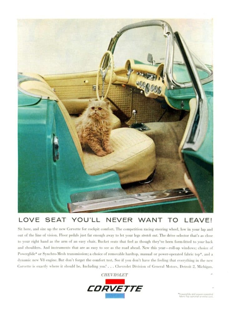This is a cute little ad for the 1956 Vette.  Love Seat You'll Never Want to Leave!