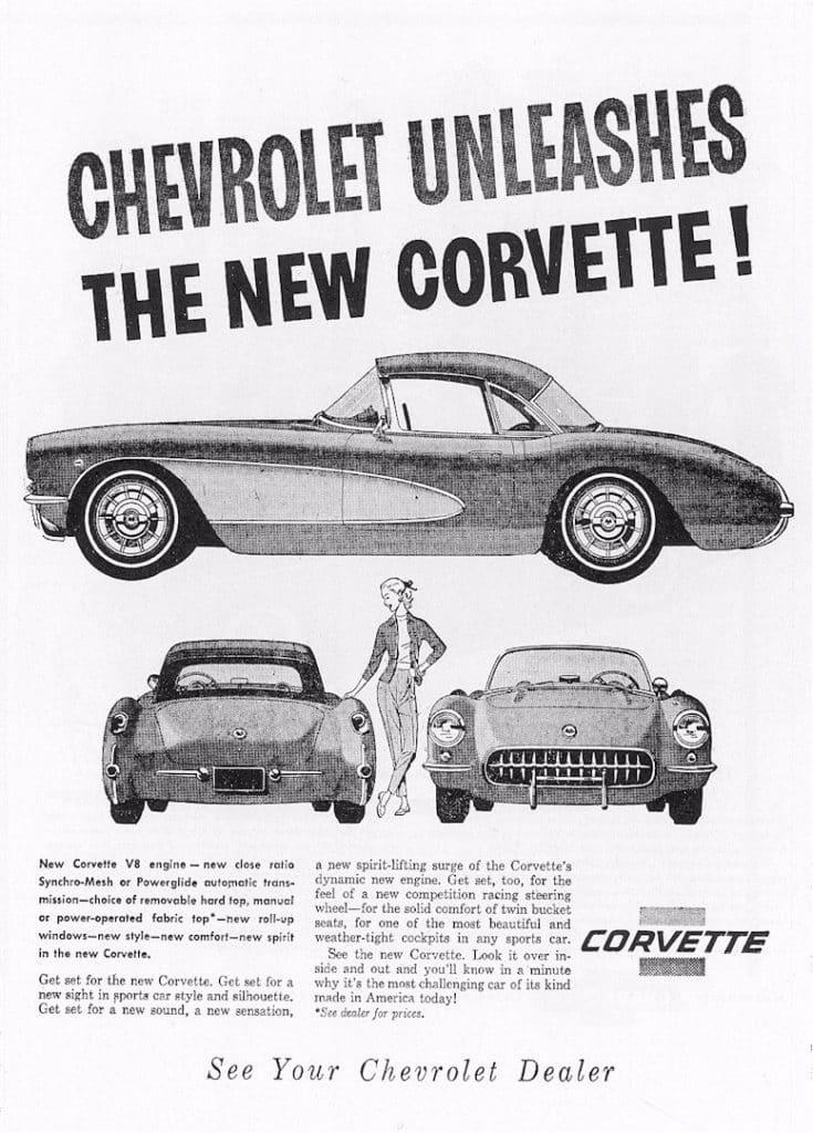 Chevrolet Unleashes The New Corvette! See Your Chevrolet Dealer...1956 vintage ad